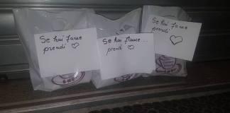 Hai fame? Prendi. L'iniziariva della caffetteria Zerotrenta di Brescia, foto da Facebook