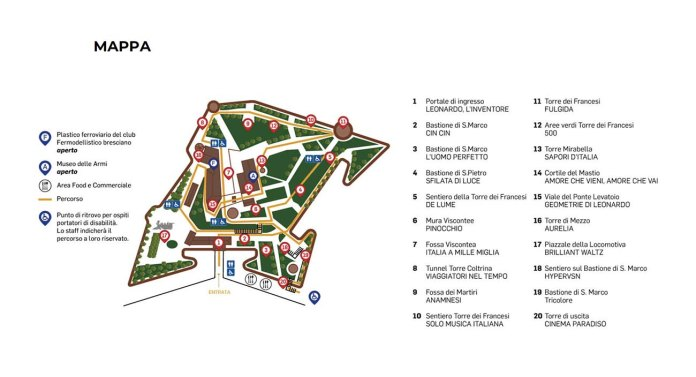 La mappa delle installazioni di Cidneon 2019 nel castello di Brescia