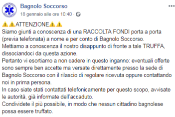 Il post di Bagnolo Soccorso per avvisare della truffa - foto da pagina Facebook Bagnolo Soccorso