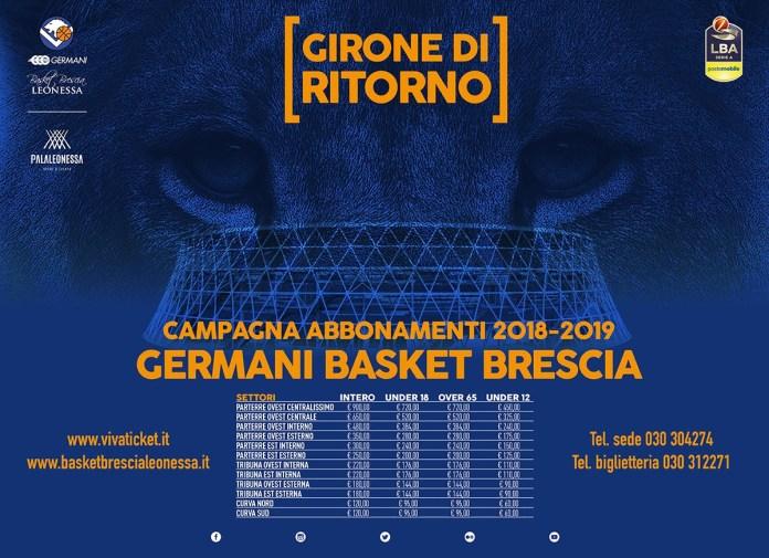 Campagna di abbonamenti 2018-2019 Girone di ritorno Basket Brescia