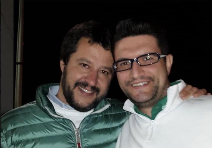Josehf Facchini (a destra) con il leader della Lega Matteo Salvini, foto da Facebook