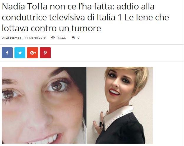 La fake news che sta circolando sulla morte di Nadia Toffa