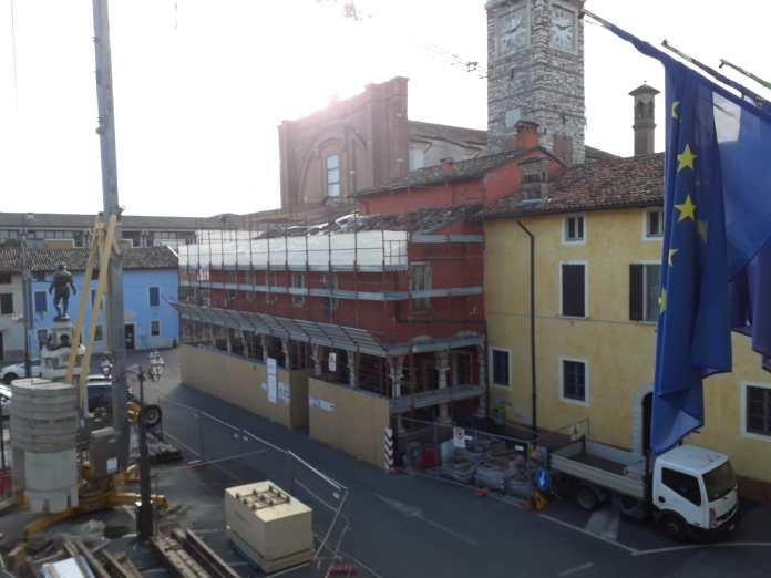 Un'immagine dei lavori in corso a Bagnolo Mella
