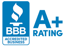 picture of a better business bureau approved roofing company logo a plus rating next to it for brightside restoration in medina ohio