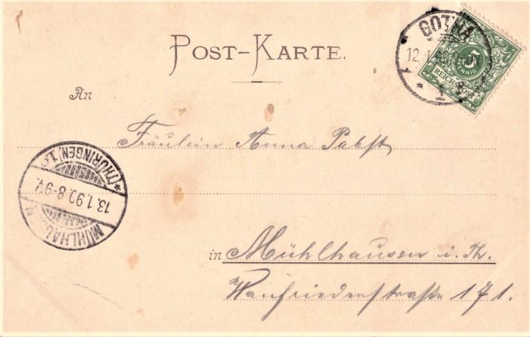 Nr. 3: Rückseite Marke wie Nr. 2, PA Gotha 1, 12.1.99. 9-10 N; Ankunft Mühlhausen 13.1.99. 8-9 V