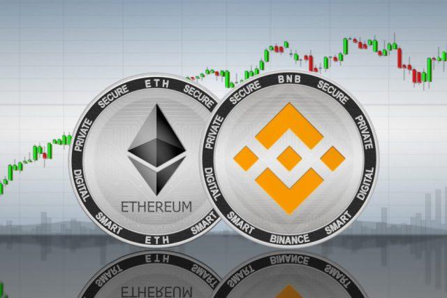 Ethereum-Münze und Binance Coin vor einem Chart