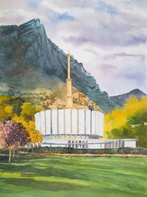 """Provo Temple,1975"""" W Color 30x22 1800"""
