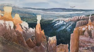 """Agua Canyon""(Bryce Canyon Natl. Park) watercolor giclee print on wc paper 13""x23"" 100"