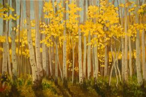"""Autumn Aspens"" oil 18""x24"""