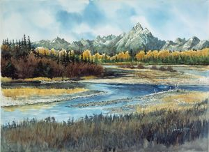 "Buffalo Ford River"" Grand Tetons 22x30 NFS"