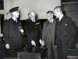The official opening of British Railways Police Training School, Tadworth, 17/12/1948. Mr G V Frankton (Commandant), Lt.Col. Sir Hugh Turnbull (Commissioner of the City of London Police), Mr V M Barrington-Ward and Mr R A Riddles (both of the Railway Executive).