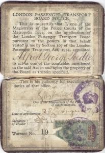 Alf Peedle's LPTB Warrant Card