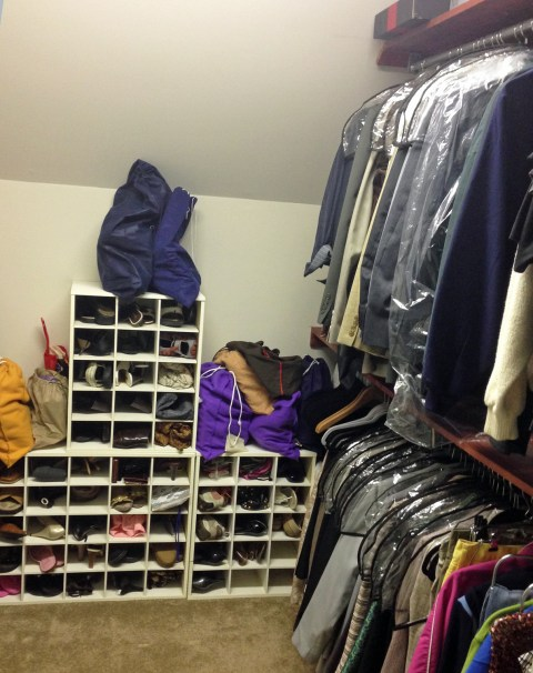 After cleaning out this area, I filled it with suits and dress clothes. The suitcases are stored to the left out of the range of the camera.