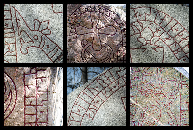 Mosaic of details from runestones in Färingsö, Sweden, showing runes and symbols.