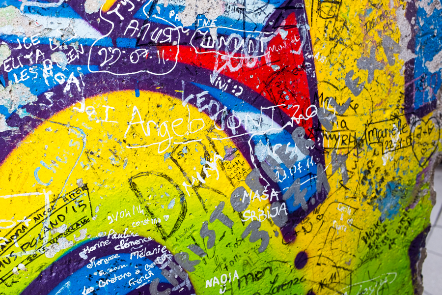 Close up of grafitti on the Berlin wall
