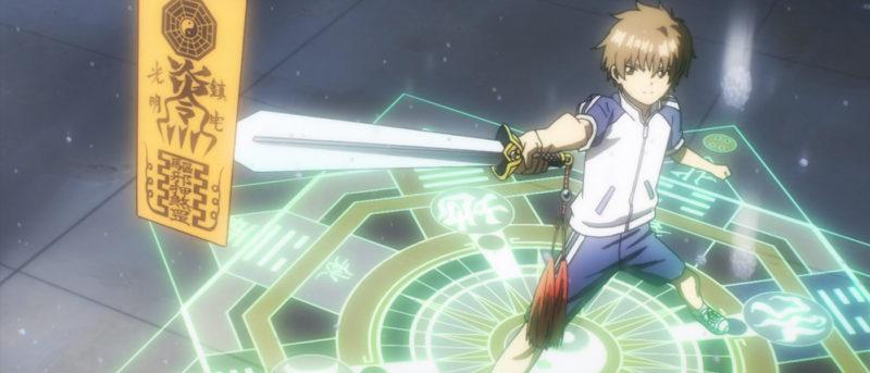 Syaoran defends Sakura with a Fire Ofuda