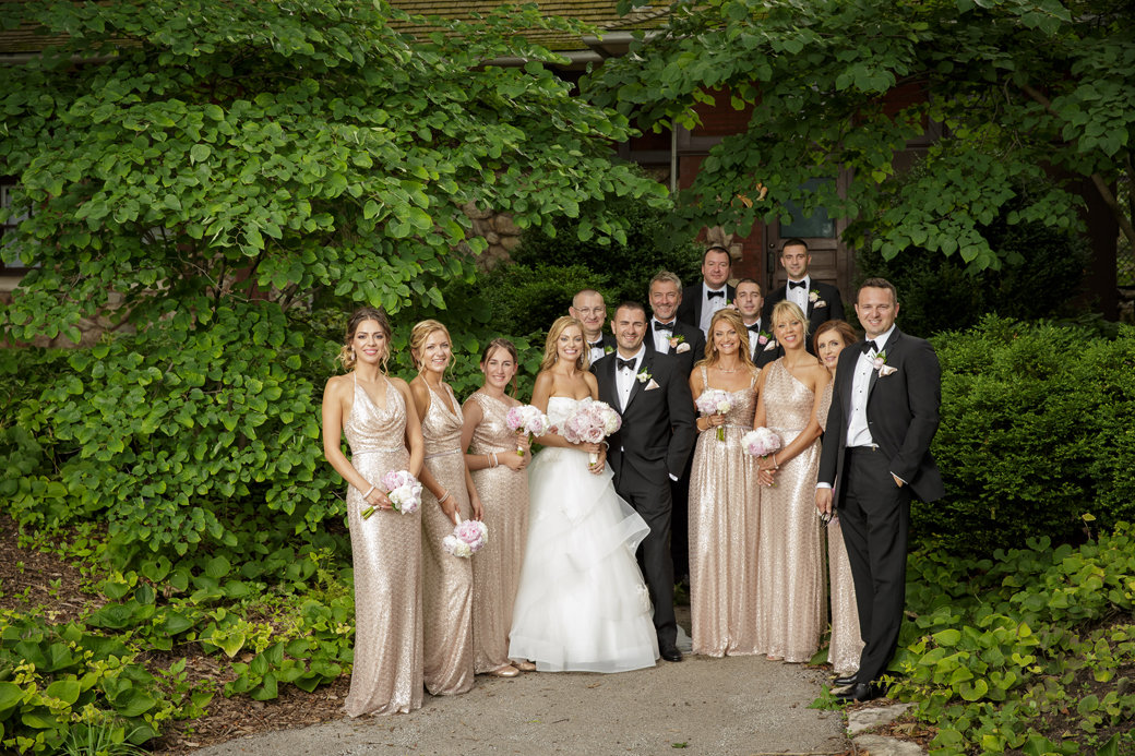 Rose Gold Sequins Bridesmaids Dresses   Black Tuxedos   Bridal Party   Cafe Brauer   Chicago Wedding   Bubbly Moments