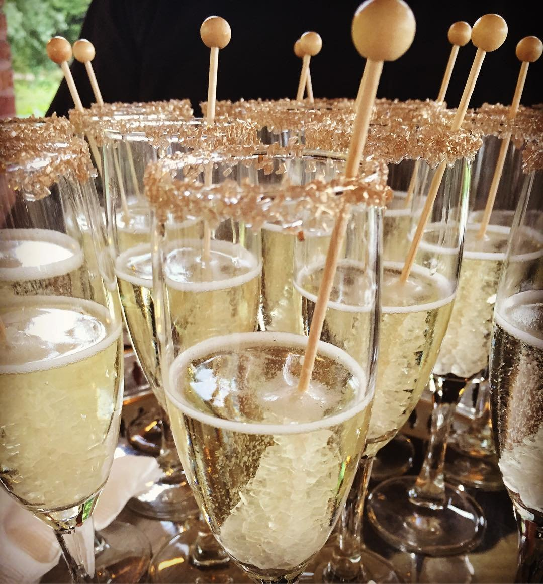 Gold Glitter Rim Rock Candy Champagne   Cocktail Hour   Specialty Wedding Drink   Chicago Wedding   Bubbly Moments
