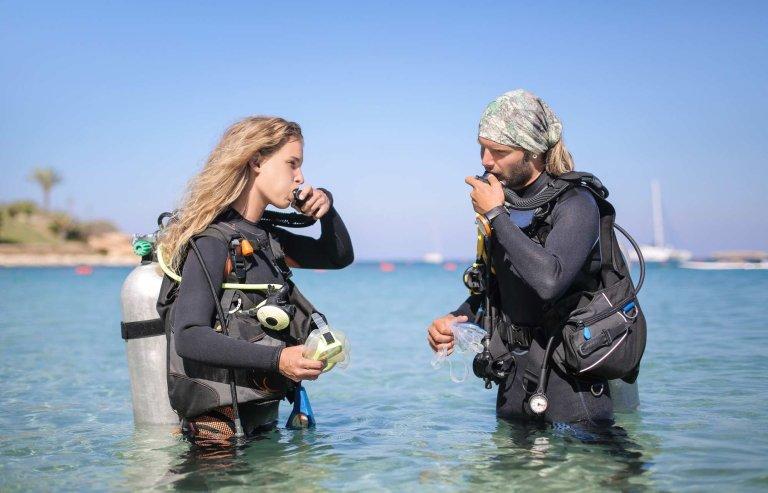 curso open water, instructor y alumno