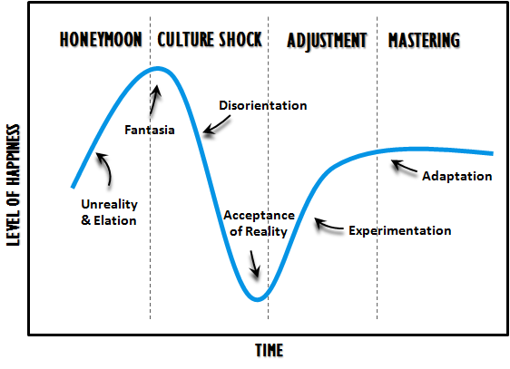 The 4 stages of culture shock visually depicted