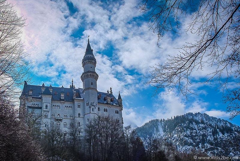 Neuschwanstein Castle with blue sky