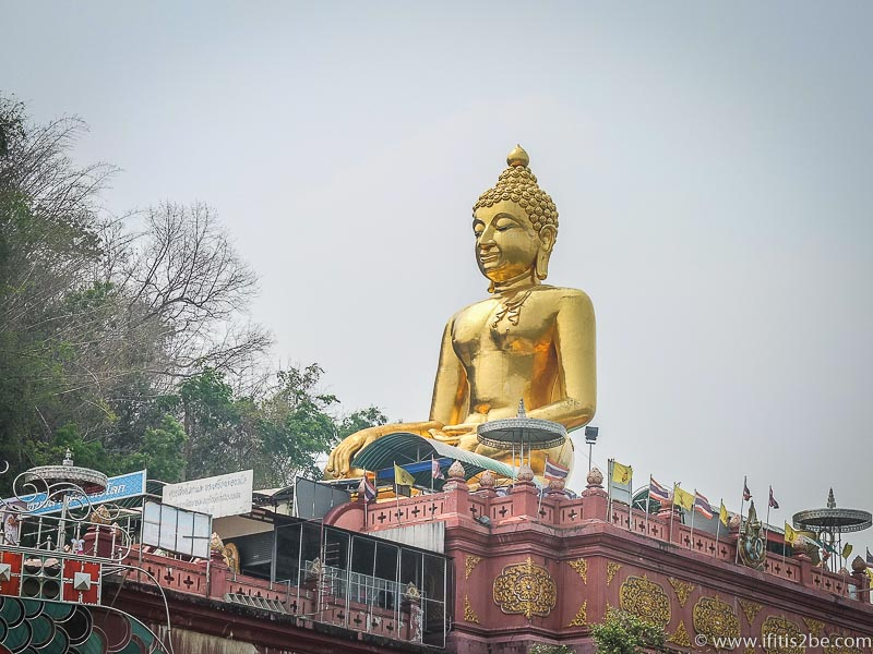 Big golden buddha on the Thai side of the Golden triangle, Chiang Sean