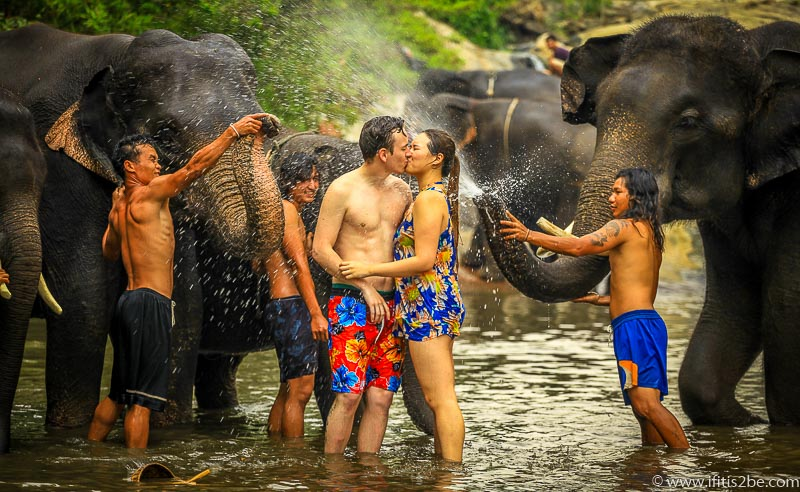 Kissing in front of the elephants - Patara Elephant Farm - Chiang Mai