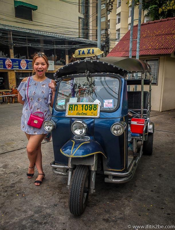 A Stylish Blue Tuktuk Taxi Chiang Mai