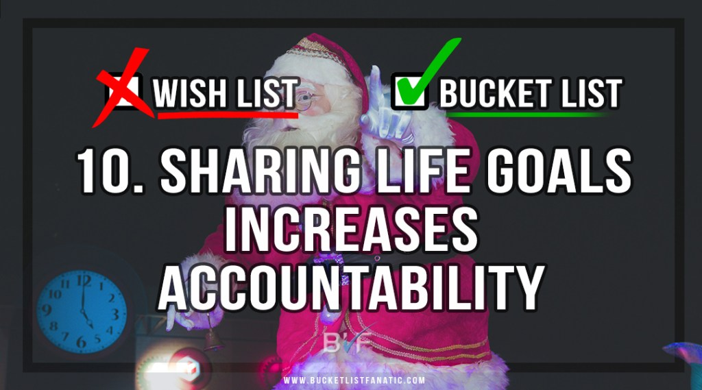 Drop the Christmas Wish Listt - Make Bucket List - Sharing Life Goals Increases Accountability - by Bucket List Fanatic