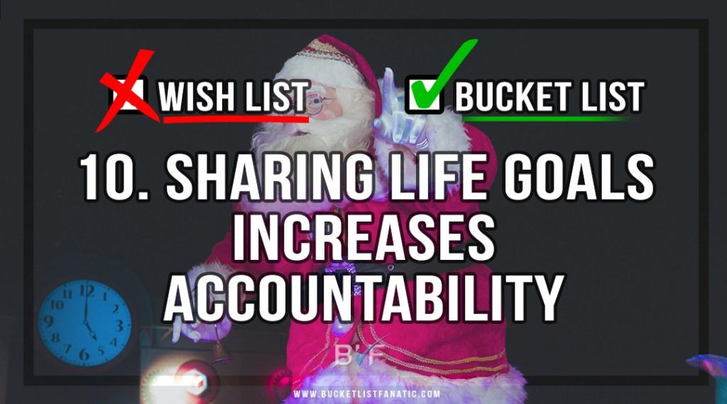 Drop the Christmas Wish Listt - Make Bucket List - Sharing Life Goals Increases Accountability - by Bucket List Fanatic