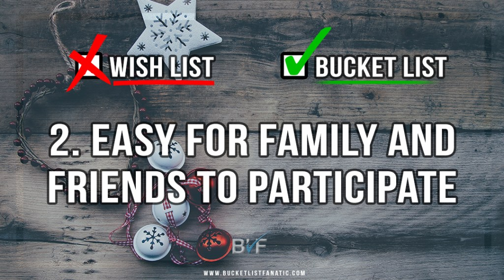 Drop the Christmas Wish List - Make Bucket List - Easy for Family to Participate - by Bucket List Fanatic
