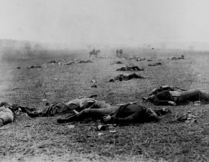 Union dead at Gettysburg--the battle was a terrible loss for the North.