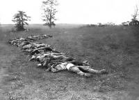 Photo of dead soldiers on the Antietam battlefield in Maryland. The Civil War was one of the first heavily photographed wars, and photos like these brought the reality of war home to the American public.