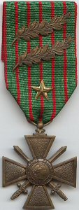 World War One Croix de Guerre with bronze palms and silver star.