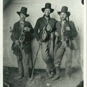 Albion Tourgee, far left, with two of his fellow officers of the 105th Ohio in the field in Tennessee.