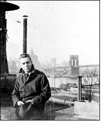 Hart Crane with Brooklyn Bridge in the background.