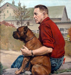 Louis Bromfield and one of his beloved boxers.