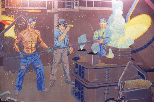 1930s Winold Reiss mural of foundry workers at the American Rolling Mills (ARMCO) plant in Middletown, Ohio. <> 1999.1228.05.1--made1--Murals at the Greater Cincinnati/Northern Kentucky International Airport depicting the history of business in Cincinnati. photo by Steven M. Herppich/Cincinnati Enquirer fpb0i0fs10ÐÐÐÐÐÐÐÐÐÐÐÐÐÐÐÐÐÐÐÐÐÐÐÐÐÐÐÐÐÐÐÐ fpi0bfs16Digital Collections/IPTC fpb0i0fs10