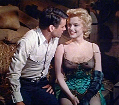 "Don Murray and Marilyn Monroe in the film version of ""Bus Stop."""