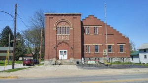 The Ohio National Guard armory in Clyde, Ohio, built in 1912. Rodger Young apparently was affiliated with the armory in nearby Fremont, but he would have been familiar with this one as well. The armories used to be an important part of social life in small town America (author's photo).
