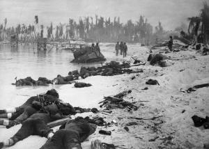 American Marines dead on Tarawa: November, 1943 (Photo: Atlantic Monthly).