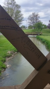 Crude grafitti on bridgework over waterfalls at the Waterworks Pond. Anderson would undoubtedly shake his head and laugh in recognition at recognizing the same human foibles and desperation that carry on from age to age. We are all resident in Winesburg (author's photo).