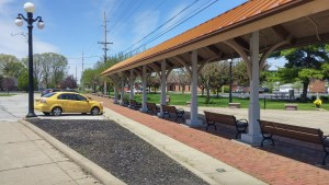This covered area is located on part of the old depot site and evokes the railroad heritage of Clyde (author's photo).