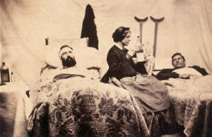 A famous photo from the American Civil War: nurse Anne Belle with two wounded soldiers.
