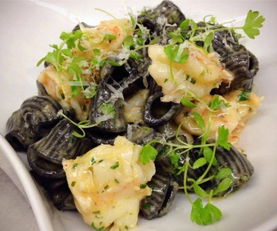 shrimp scampi_blackened rigatoni with squid ink_charcoal byob