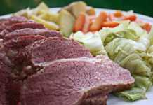 Corned beef and cabbage meal