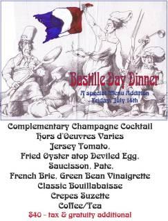 Bastille Day at Hamiltons Grill Room