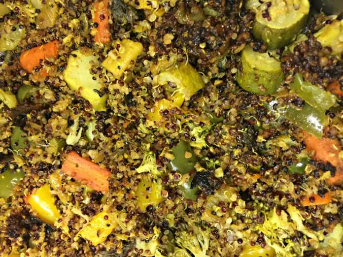 Quinoa with Broccoli, green red peppers, zucchini & spices. Photo credit Lynne Goldman.