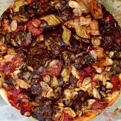 Rhubarb, Raspberry, Dark Choc Bread & Butter Pudding Cake