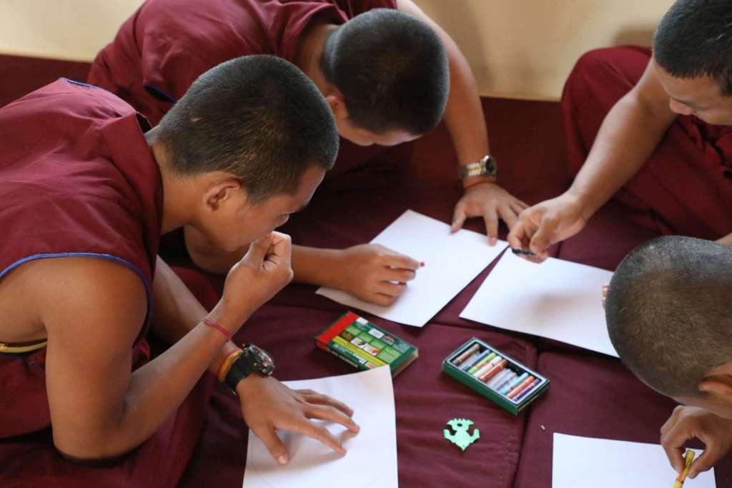 Monks after Pneuma Breathwork in Gaden Shatse Monastery